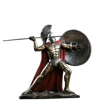 Hand engraving Artwork Retro medieval Rome ornaments Spartan character armor Knight model living room decoration