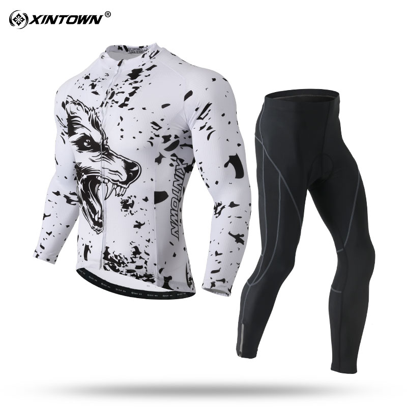 XINTOWN New Sport Set Men White Snow Wolf Patter Long Sleeve Cycling Jersey Sets Cycling Jerseys Team Set MTB/Road Bike Wear