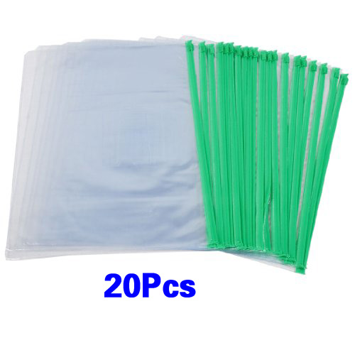 Affordable Office Green Clear Size A4 Paper Slider Zip Folders PVC Files Bags 20PCS