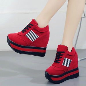 Image 4 - 2020 NEW FRESHNESS Platform Women Shoes PU Vulcanized Shoes Height Increasing Pumps Woman Sneakers Wedges High Heels Shoes W309