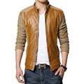 2016 Winter Men's Jacket Slim Fit Patchwork PU Leather Jacket Men Top Quality Men Motorcycle Jacket Asian Plus Size M-5XL