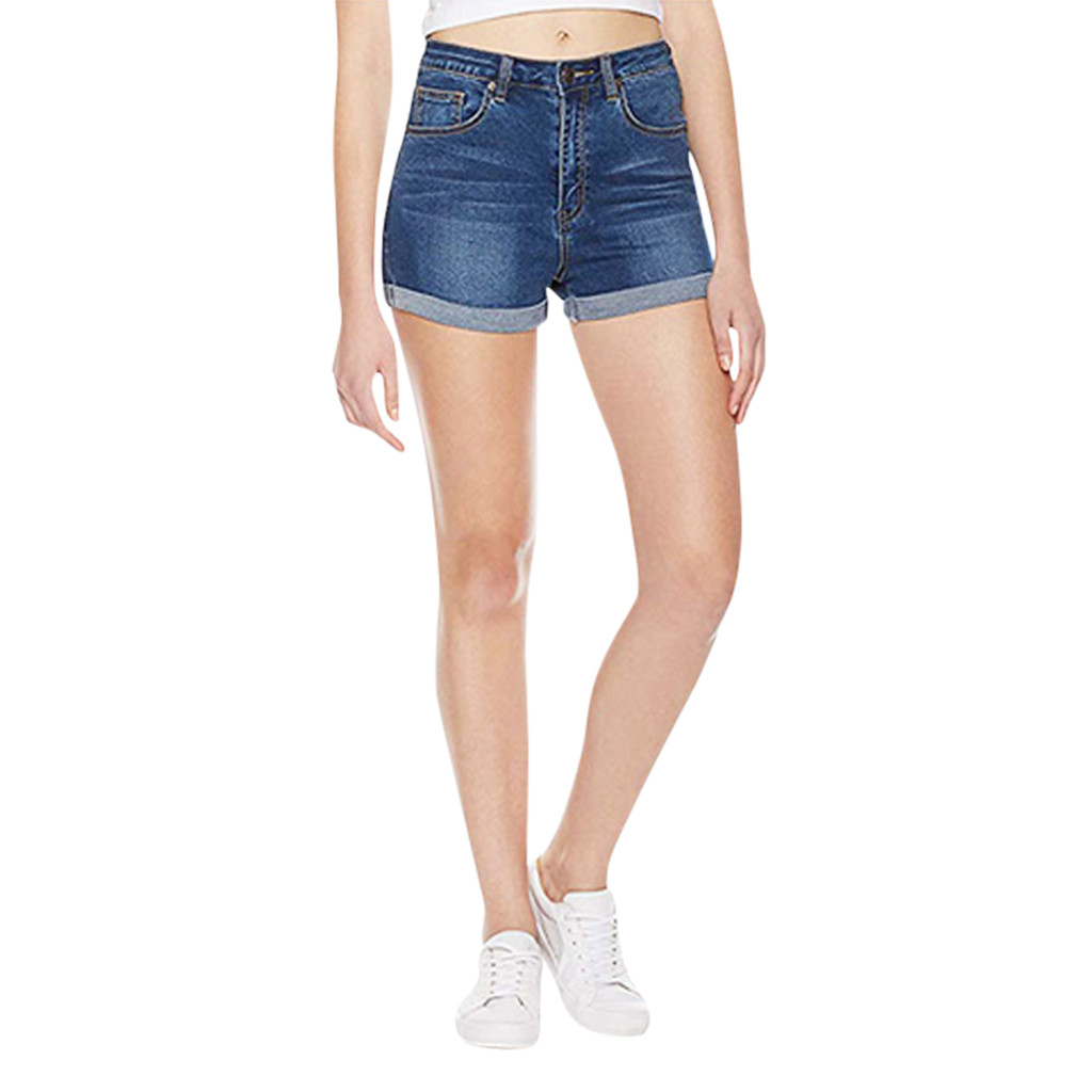 2020 Women Mini Jeans Shorts Lady Summer Beach High Waist Washed Denim Slim Hot Short Pant Casual Stretchy Short Pants Crimping