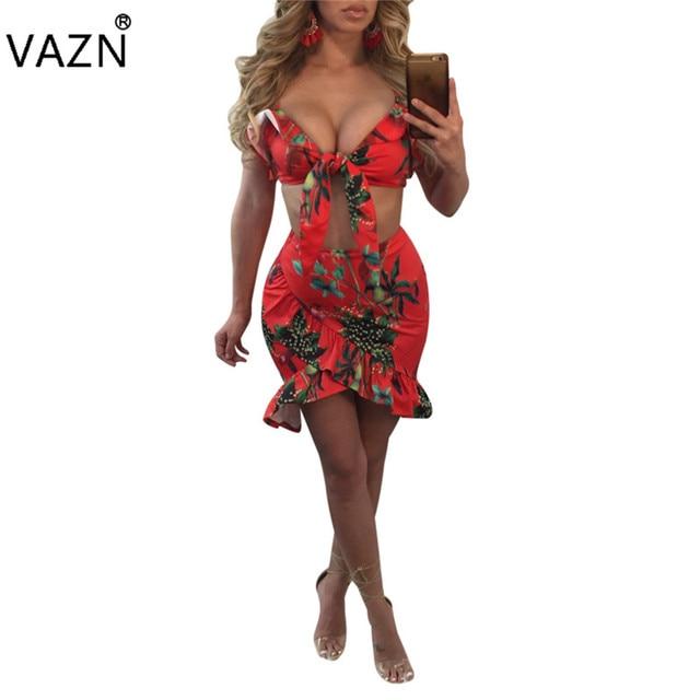 VAZN 2018 Hot Sale Exotic designer Bandage Dress Sexy Strapless Print  Dresses 2 Piece Mini Club c1ddc1224