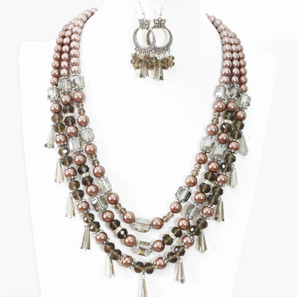 Fashion Earrings 3rows necklace round champagne shell simulated-pearl abacus gray crystal beads newly jewelry set 19-22.5 B997