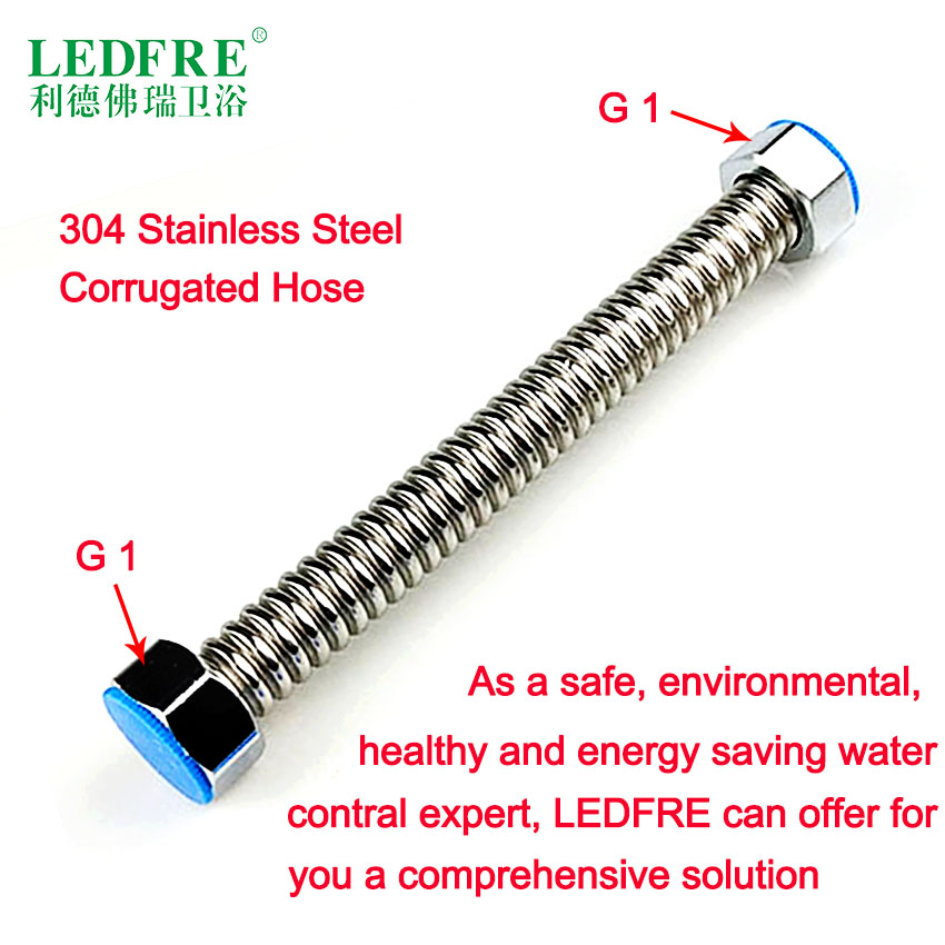 LF16003 G1*G1 Stainless steel Corrugated Supply Hose Water Heater connector plumbing pipe transparent hose tube water viborg top quality 60cm sus304 stainless steel flexible braided water supply hose for water heater connector pipe tube