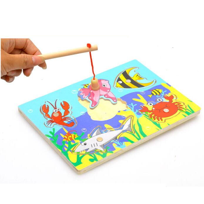 Brain Game Fishing Puzzles for children Wood Fishing Toys with fishing rod font b Outdoor b