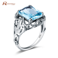 Rings For Women 925 Sterling Silver Engagement Blue Aquamarine Crystal Ring For Women Men Fashion Jewelry