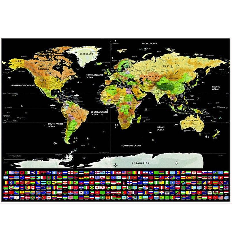 ZOTOONE bandera negro gota envío mapa del mundo etiqueta de la pared personalizado rasguño Mapa de capa de recubrimiento cartel decoración de la pared