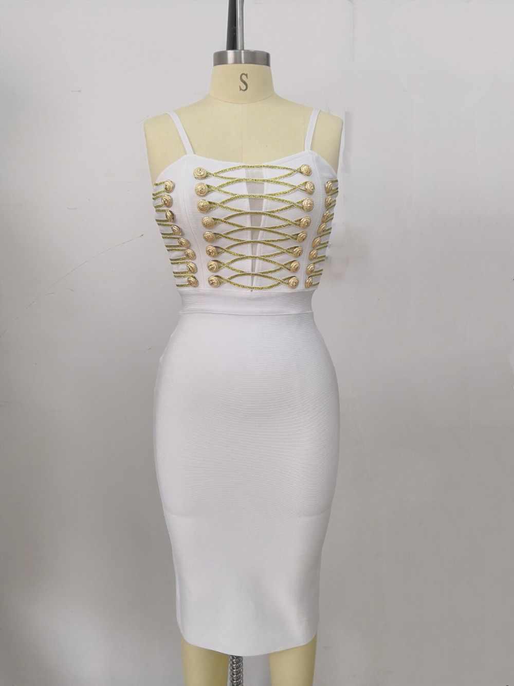แฟชั่นคุณภาพยอดนิยมลื่นสีขาว Botton Bodycon เรยอนผ้าพันคอชุดราตรีชุดราตรีชุด