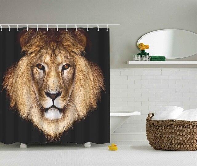 Lion Bathroom Shower Curtains Waterproof Polyester Fabric Bath 3D Rideau De Douche Cortinas Bano