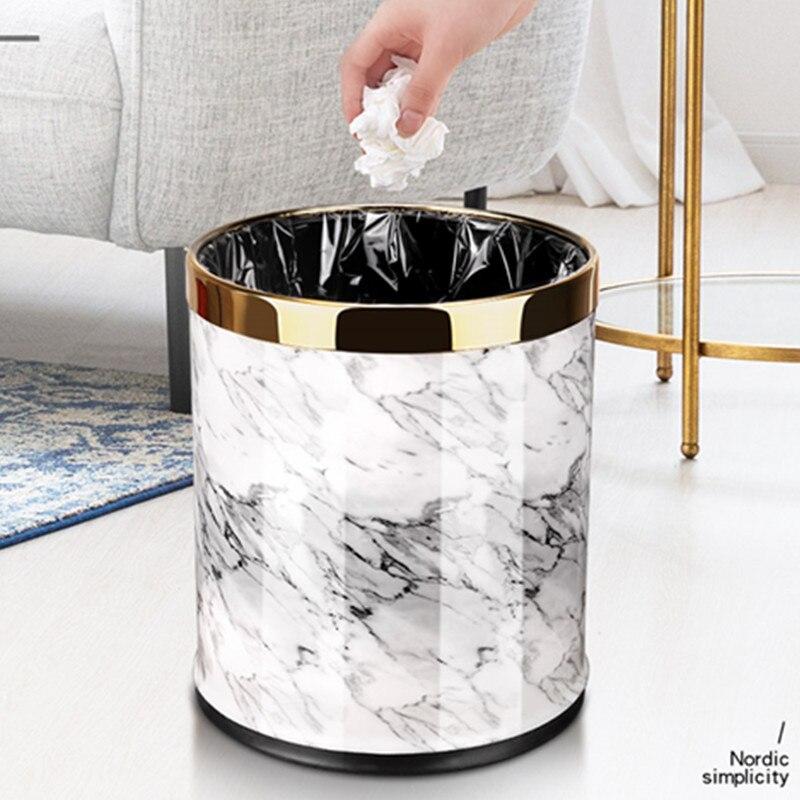Motif marbre 10L poubelle poubelle seaux diamètre 23 cm hauteur 27 cm poubelles salon salle de bains cuisine poubelle poubelle