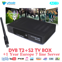 Vmade USB WiFi DVB t2 Terrestrial s2 Satellite Digital H.264 receiver suppt Dolby Digital AC3 TV box with 1 Year Cccam Server