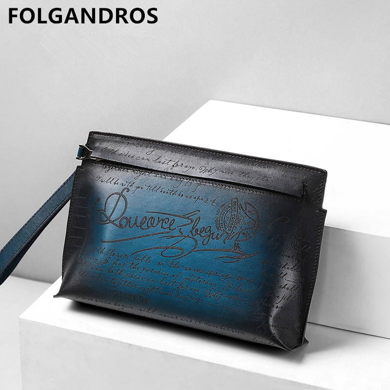 2019 Men's Vintage Genuine Leather Envelope Bag Spanish Brand Luxury Day Clutches Bag Male England Style Large Capacity Clutches