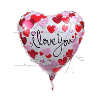 Free Shipping I LOVE YOU Aluminum Film Balloon Mylar Foil Balloon With Red And Pink Hearts