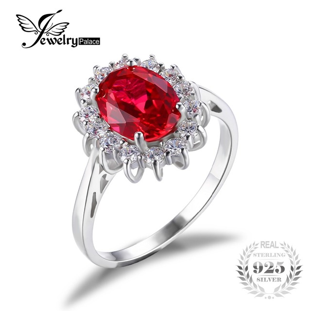 JewelryPalace Princess Diana William Kate Middleton's 3.2ct Red Created Ruby Engagement 925 Sterling Silver Ring for Women