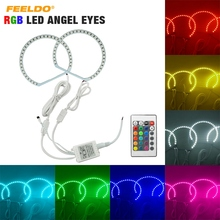 FEELDO 2 Pçs/set Carro RGB LED Angel Eyes o Halo Anel Kit de Iluminação Controle Remoto Sem Fio Para Hyundai Spectra 05-06
