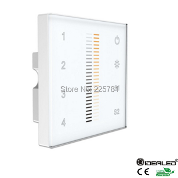 GIDEALED Easy 4-zone DMX 512 dimmer control switch touch panel controller Wall mounted Output DMX512 signal dmx512 digital display 24ch dmx address controller dc5v 24v each ch max 3a 8 groups rgb controller