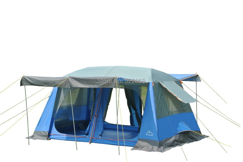 New style high quality two bedroom 5-10person double layer waterproof camping tent with front hall and front poles