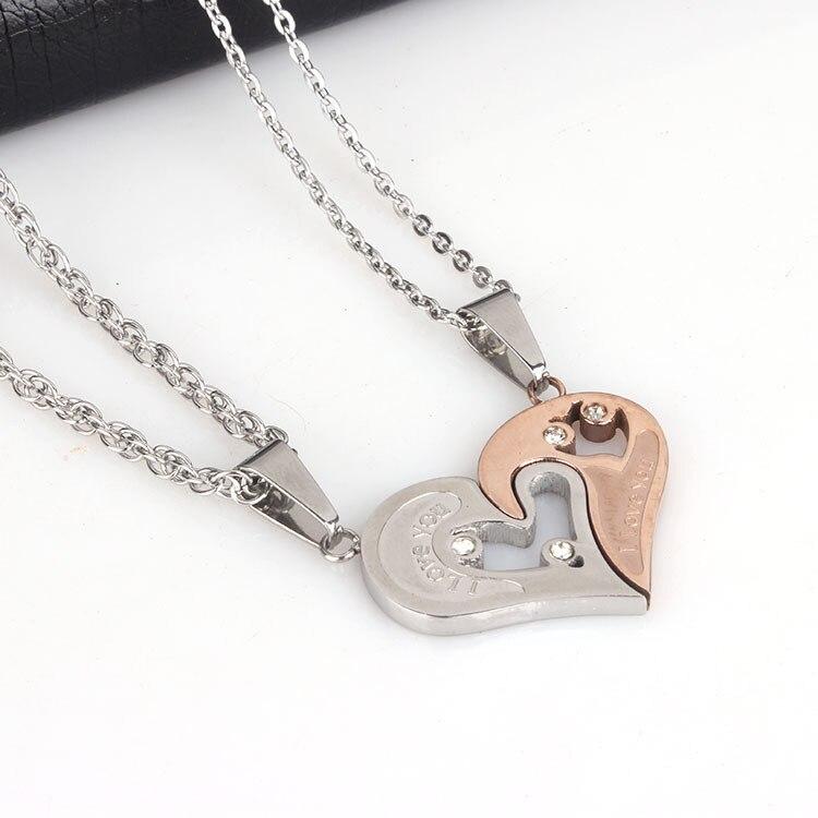 2015 la venta caliente nuevo diseño único 2 la mitad del corazón collar de acero inoxidable