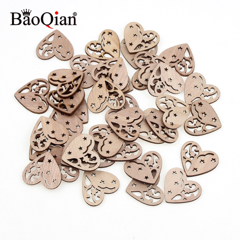 20Pcs 27x30mm Lovely Heart Pattern Wooden Scrapbooking Painting Collection Craft Handmade DIY Accessory Home Decoration