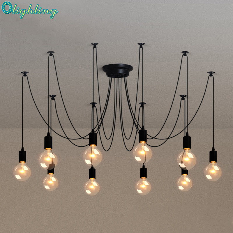Retro classic chandelier E27 spider lamp pendant bulb holder group Edison diy lighting lamps lanterns accessories messenger wire hemp rope chandelier antique classic adjustable diy ceiling spider lamp light retro edison bulb pedant lamp for home