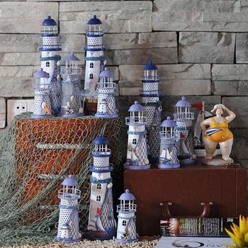 Lighthouse decoration Lantern Mediterranean Sea Wedding gift Iron candle Holder Romantic Tealight Holder Mix Size 1