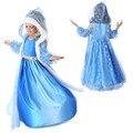 Новый 2016 Красивый Синий Эльза платье Новинка Девушка Платье Принцессы длинные baby дети летние платья девушки фантазия костюм платье партии
