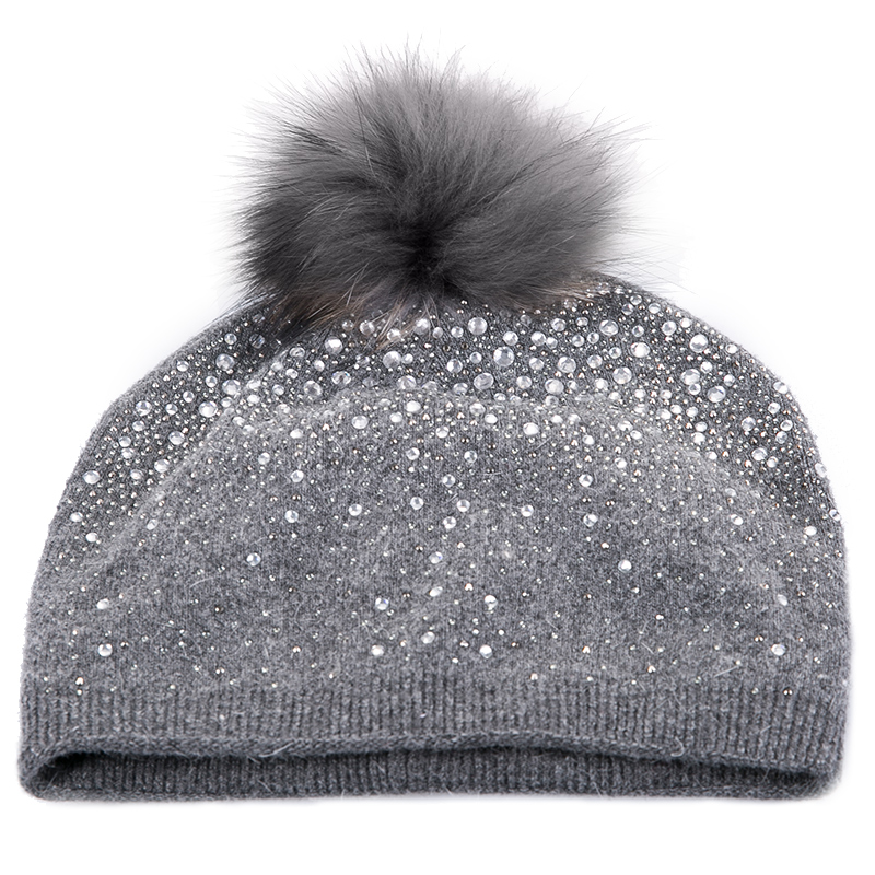 Sedancasesa New Women hats winter hats knitted cap keep warm wool   Skullies     Beanie   caps with cute Pompom Rhinestones Christmas
