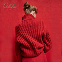 Ordifree 2018 Autumn Winter Women Knitted Sweater Pullover Casual Jumper Oversized Red Think Warm Turtleneck Sweater