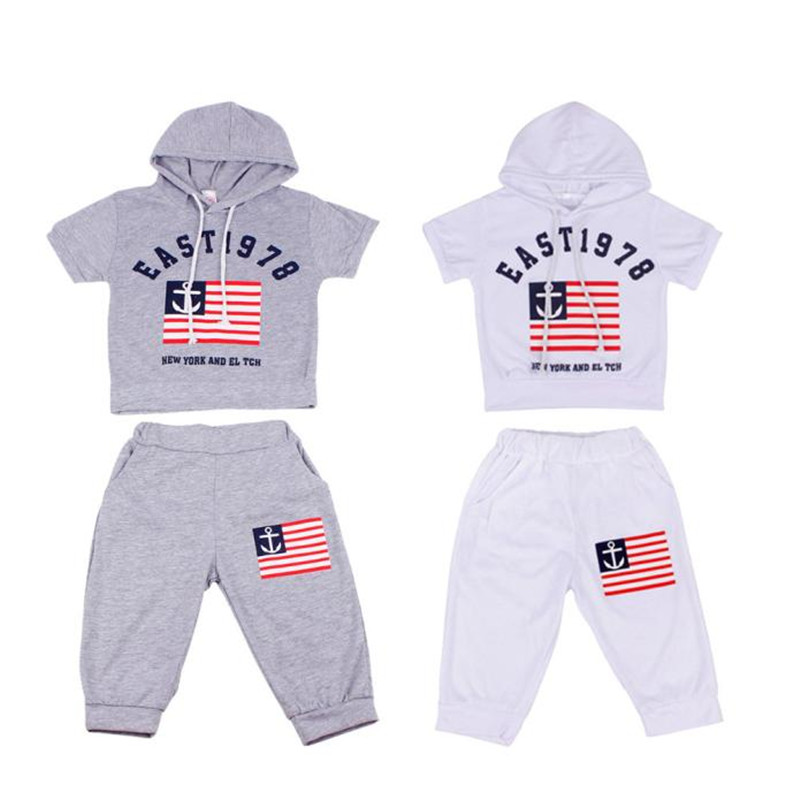 baby clothes 2017 fashion  New Summer Children Clothing Boys Hooded T-shirt And Pants Suits