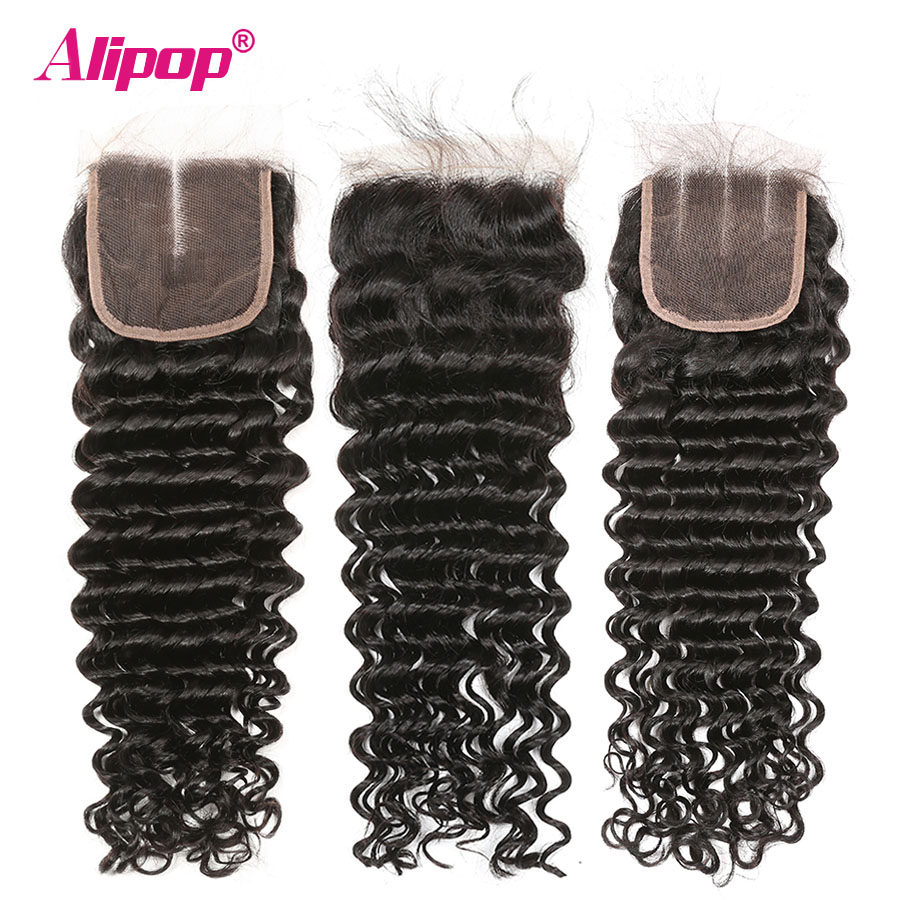 Alipop Brazilian Deep Wave Bundles With Closure Human Hair 234 Bundles With Closure 8-28 Inches Remy Hair Bundles With Closure (3)