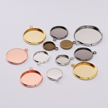 20pcs Necklace Pendant Setting Cabochon Cameo Base Tray Bezel Blank For Pendant Jewelry Making Findings DIY Accessories Supplies juya jewelry making cabochon base 4pcs 25mm inner size diy charms necklace pendant cabochon matching glass supplies accessories