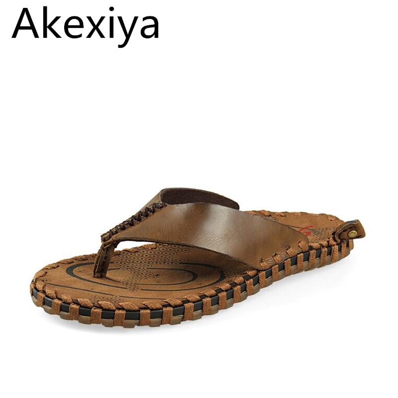 Akexiya Handwork Mens Genuine Cow Leather Flip Flops Straw Bottom Slippers Sole Beach Sandals for Man