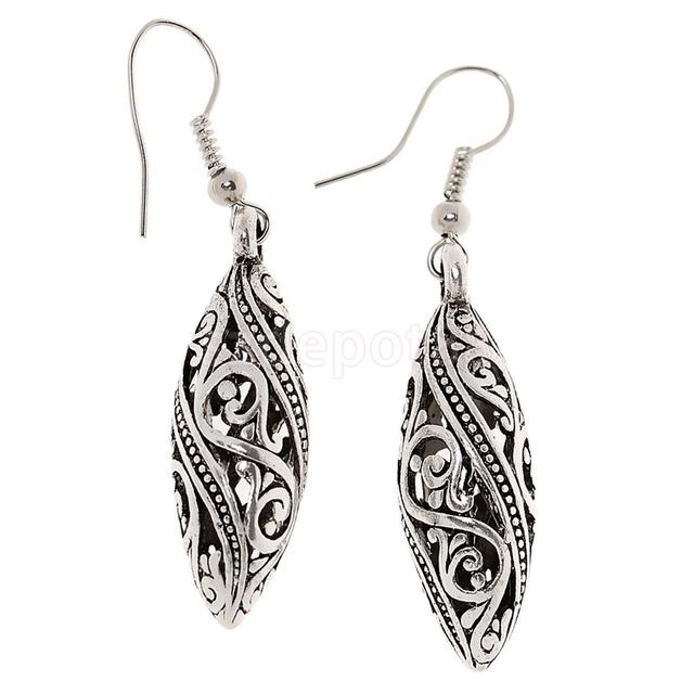 Vintage Tibetan Silver Filigree Teardrop Dangle Drop Earrings Ear Jewelry