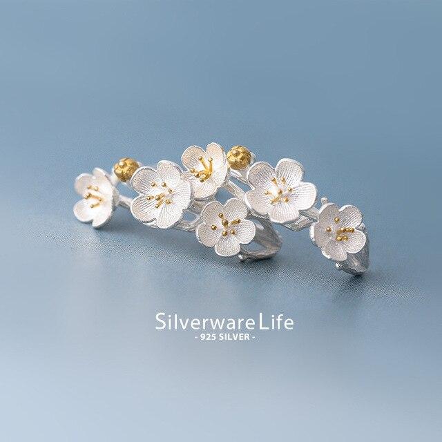 XIYANIKE 925 argent Sterling romantique cerisier fleur boucles doreilles à la mode élégant boucles doreilles bijoux fins pour les femmes cadeau
