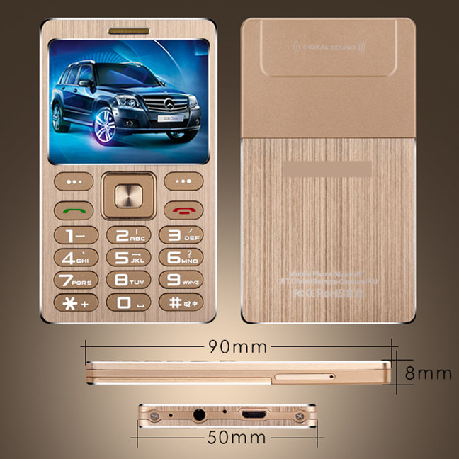 A10 Phone With Super Mini Ultrathin Card Luxury MP3 Bluetooth 1.63inch Dustproof Shockproof phone H-mobile A10