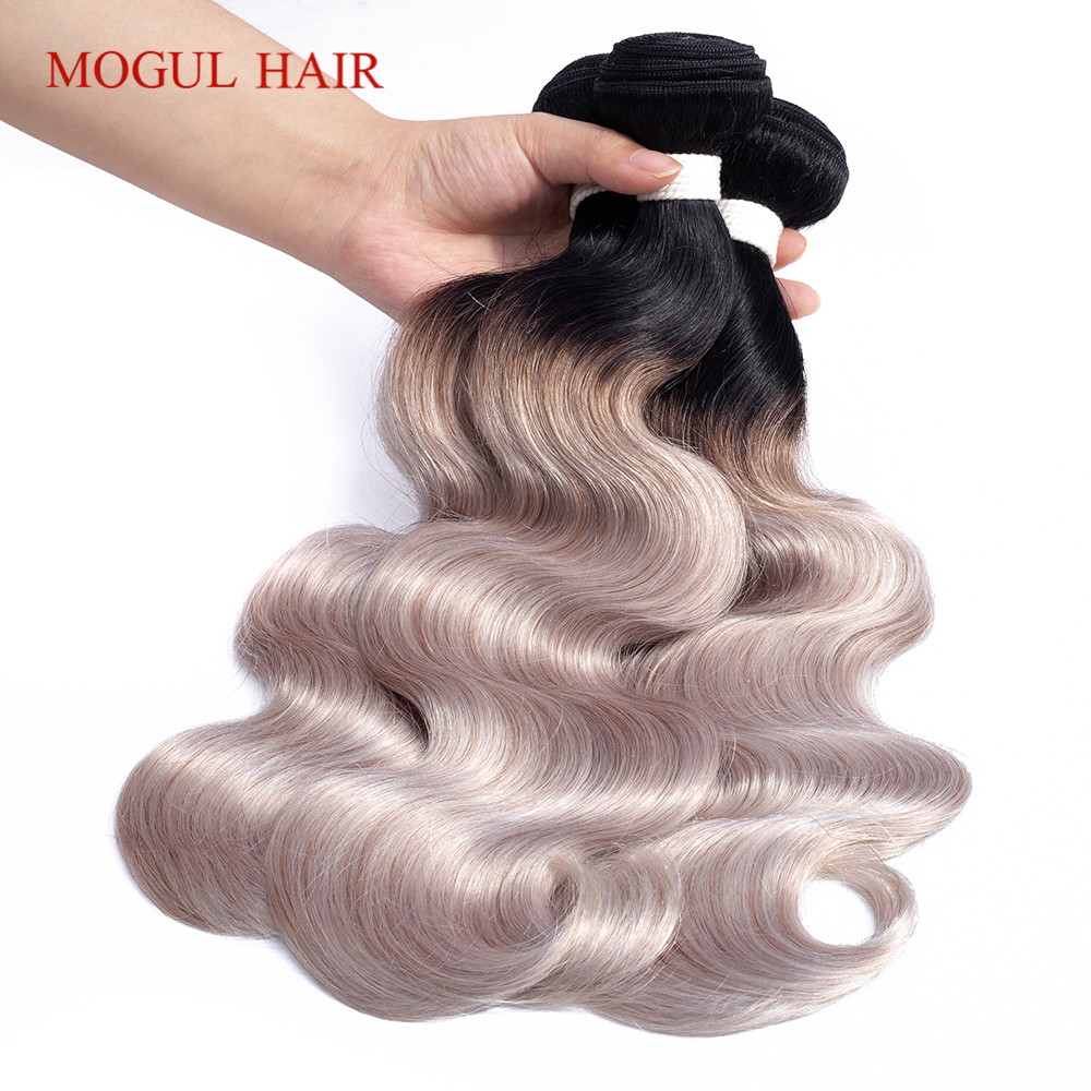 MOGUL HAIR T 1B Light Grey Brazilian Body Wave 2 3 Bundles White Grey Ombre Remy