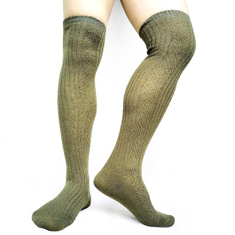 Mens Formal Thick Socks Stocking Fashion Sexy Thigh High Winter Autumn Male Dress Long Socks Striped Hose New Design Socks