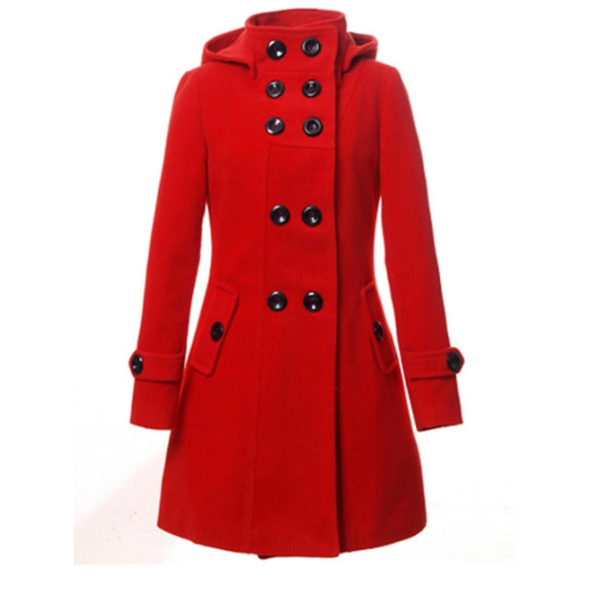 Yong17 Winter Coat Women 2018 Black Red Gray Outerwear Autumn Office Fashion Casual Double Breasted Elegant Slim Long Coat
