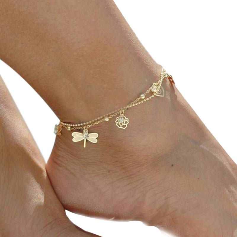 Female Heart Shaped Anklet Bracelet Round Bead Chain Beach Summer Foot Access AT