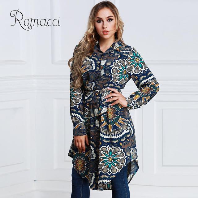 cfdb6576241 Romacci Womens Tops and Blouses Long Floral Print Shirt Blouse Turn-down  Collar Long Sleeve Asymmetric Long Shirt 5XL 6XL 7XL