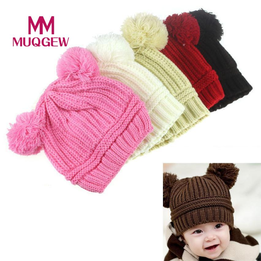 MUQGEW Top Quality Cute Baby Kids Girl Boy Dual Balls Warm Winter Knitted Cap Hat beret cap winter boina casquettedrop shopping