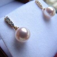 Women Gift word 925 Sterling silver real Japan Akoya permanent natural seawater pearl earrings circle 8 9mm