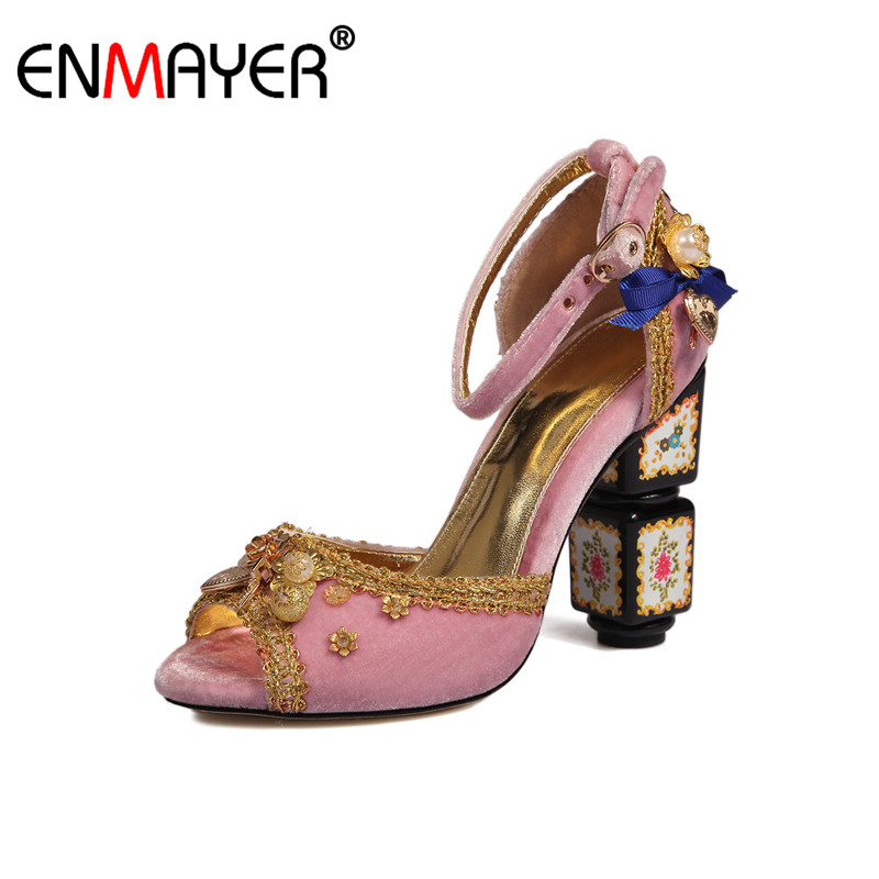 ФОТО ENMAYER China Style Flock Round Toe High Heels Buckle Women Dance Shoes 2017 Hot Fashion Summer Women Pumps for Party Wedding