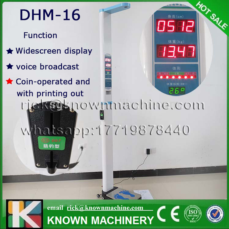 The CE certified electronic ultrasonic human baby height and weight measuring machine KN-16 free shipping by sea vending ultrasonic height and weight bmi fat blood pressure machine with coiner and printer kn 15a with high clear lcd