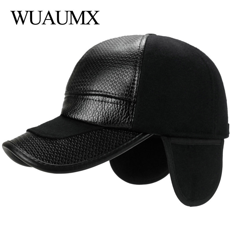 6965d819 Wuaumx NEW Fall Winter Baseball Caps Men With Ear flaps Cotton PU Leather  Warm Thick Snapback Cap Men Dad Hat Casquette homme