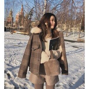 Image 3 - Mishow 2019 Women New winter clothing thicken woolen jacket female Korean version of the short loose Plaid woolen coat MX18D9536