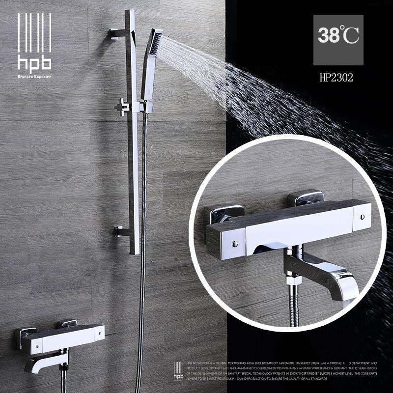 HPB Thermostatic Bath Tub Shower Faucet Cold Hot Water Bathtub Mixer Bath Shower Set Hand shower Head torneira banheiro HP2302