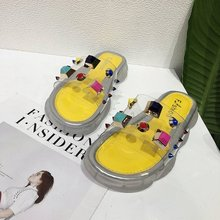 slippers women shoes beach cold summer 2019 new fashion students flat flip flops Outside slides unicorn