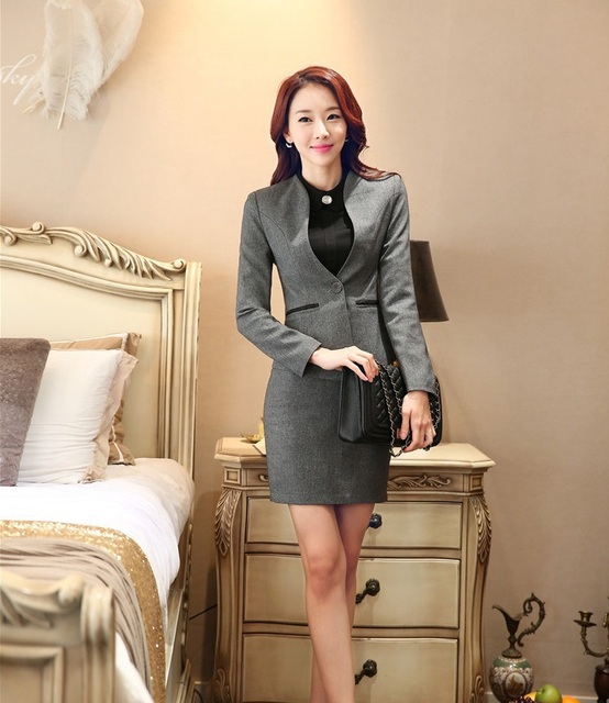 Plus Size 4XL Uniforme Estilo 2015 Outono Inverno Formal Business Professional Women Trabalho Desgaste Ternos Blazer E Saia Conjuntos de Trabalho